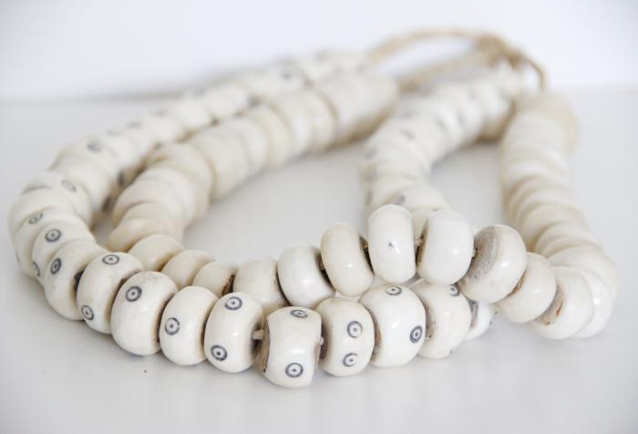 African Bone Bead Strands, S/2