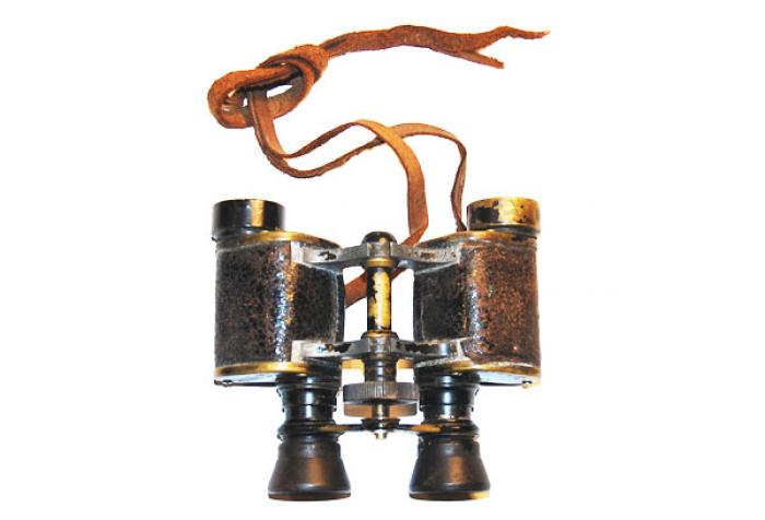 Antique Artillery or Hunting Binoculars, Leather & Brass