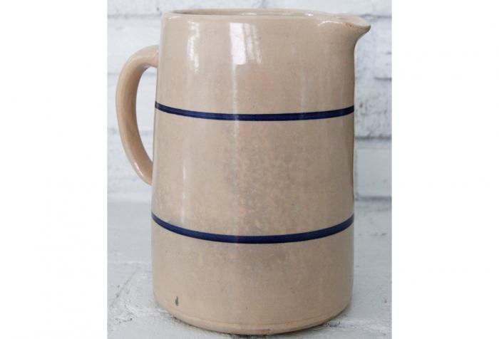 Antique Blue Stripe Stoneware Pitcher