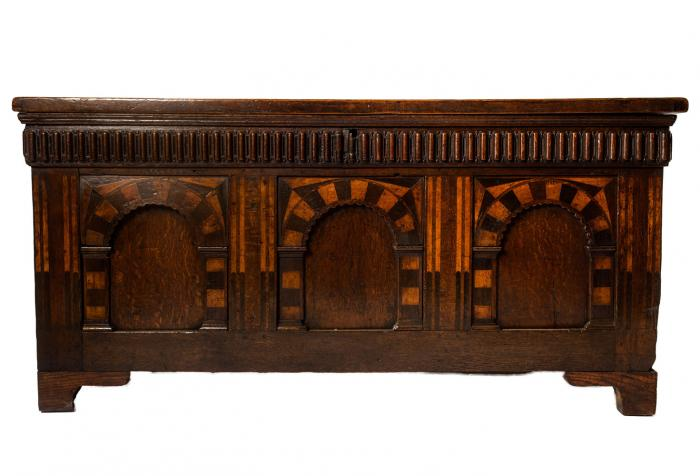 Antique English Oak Trunk, Marquetry Inlay