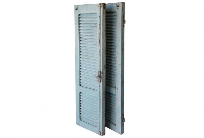 Antique French Coastal Blue Shutters, Pair