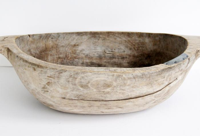 Antique French Dough Bowl-Driftwood