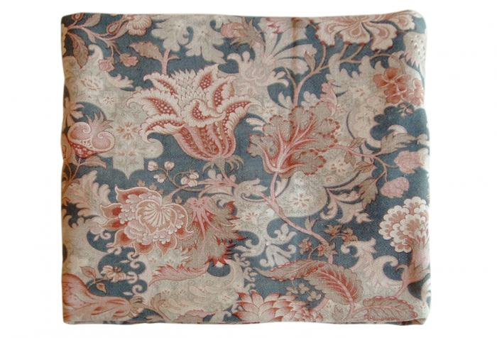 """Antique French Fabric """"Indienne"""" in Grays, Beige, Rust, Steel Blue"""