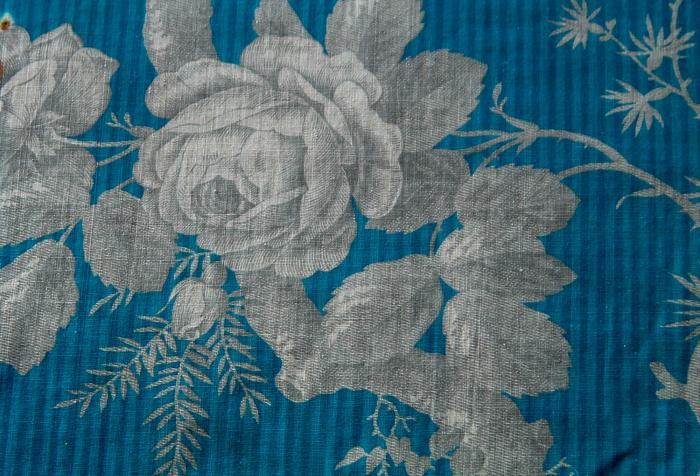 Antique French Fabric Textile, 19th c. Arboreal in Blue & Grey