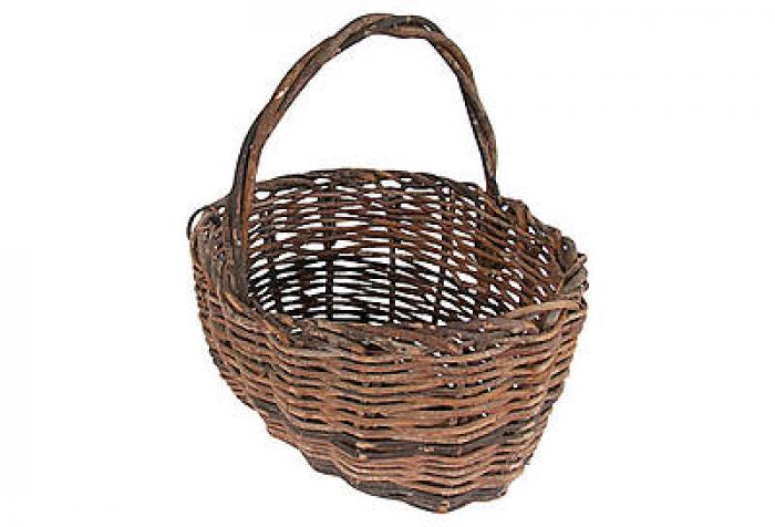 Antique Handwoven Twig Basket