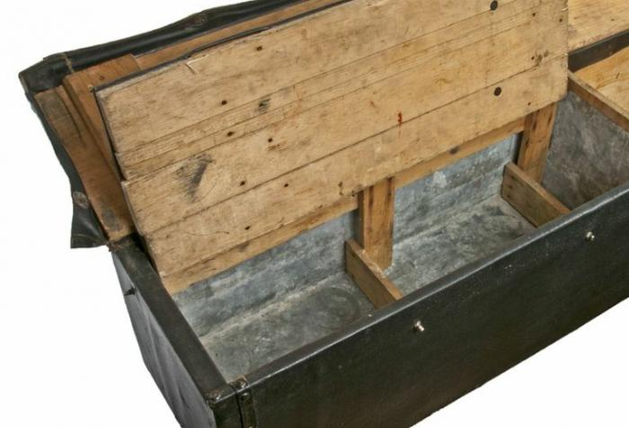 Antique Wood Storage Box Once Strapped To The Running Board Of A Model