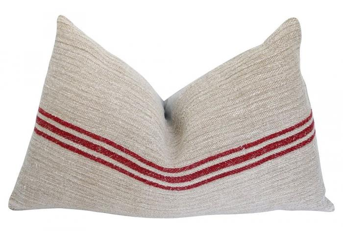 Antique Red Stripe Linen Pillow