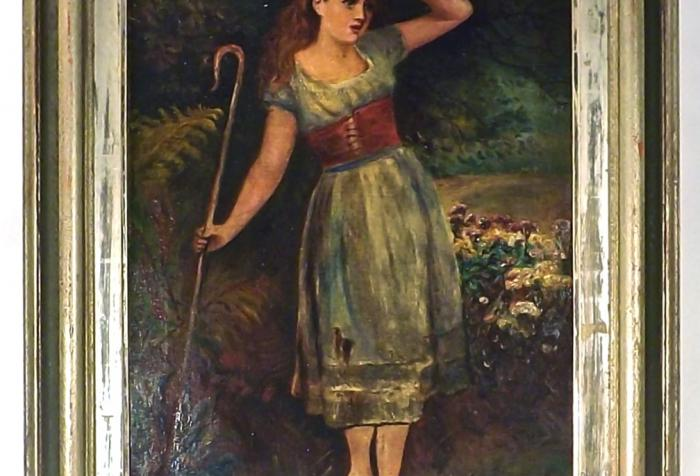 Antique Shepherdess Oil Painting