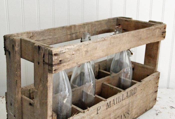 French Wine Crate W/Bottles