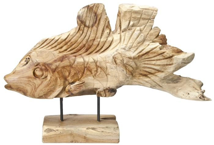 Hand carved driftwood fish omero home